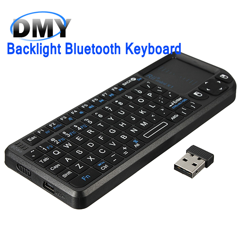 Black Mini Wireless Bluetooth keyboard Air Mouse with backlight Touchpad Remote Control keyboard For Android TV Box mini PC(China (Mainland))