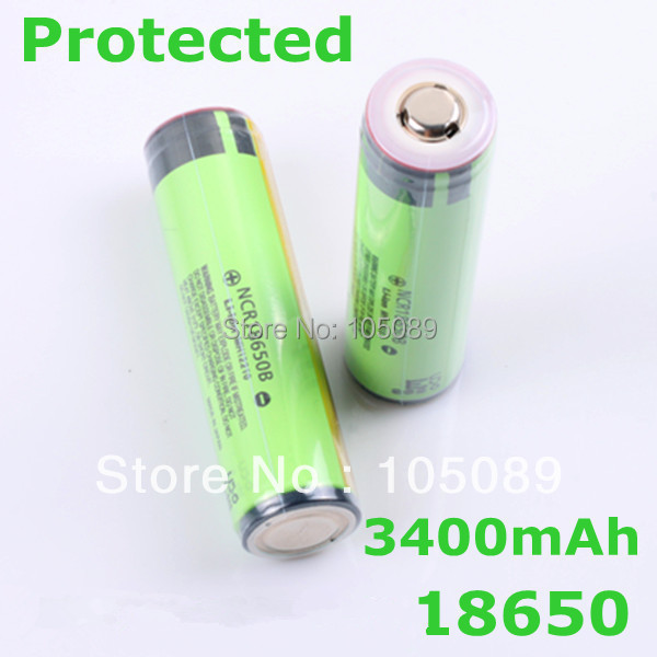 2PCS/lot New Protected Original Rechargeable battery 18650 NCR18650B 3400mah with PCB 3.7V For panasonic Free Shipping(China (Mainland))