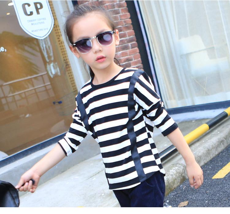 Children Wear T-shirts Spring Autumn Girls New Korean Casual Long Stripe Cotton Blouse Kids Clothing