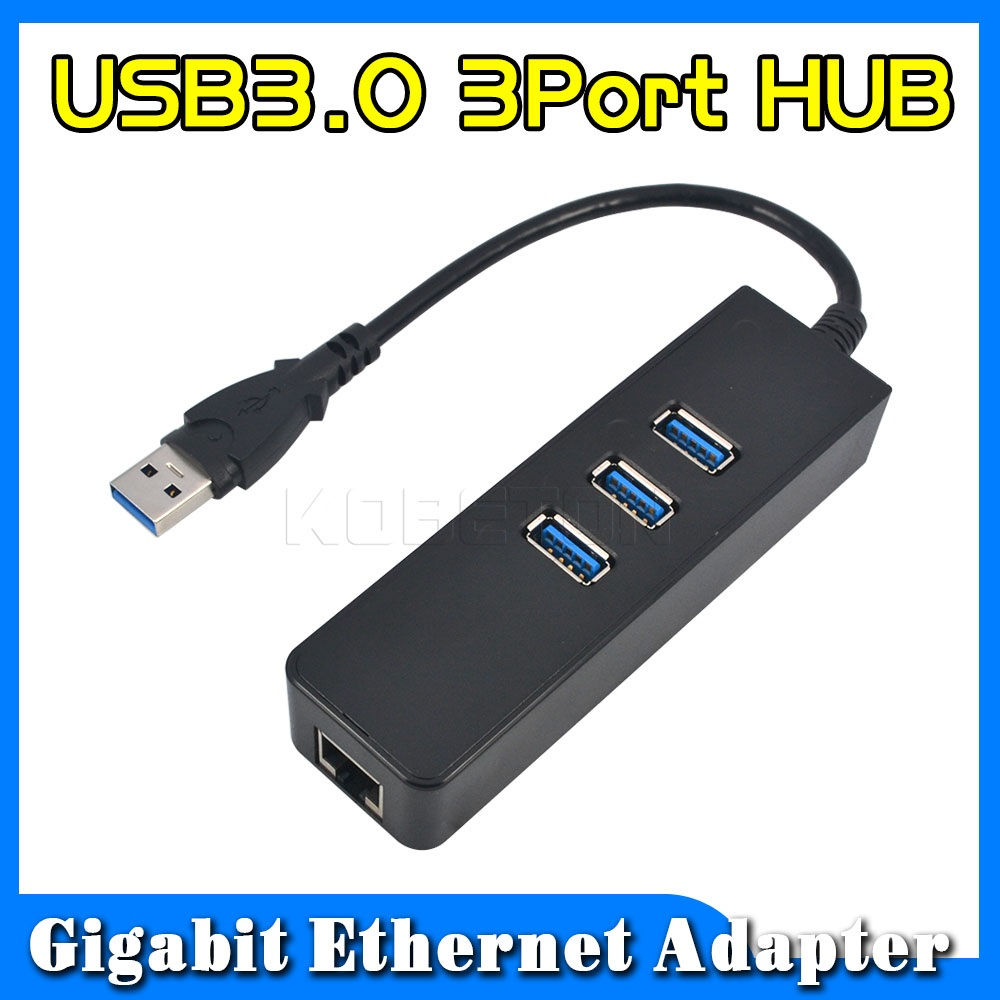 2015 fashion 1piece Price 3 Port USB 3.0 Hub 10/100/1000 Mbps to RJ45 Gigabit Ethernet LAN Wired Network Adapter For windows Mac(China (Mainland))