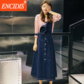 2016 New Spring Summer Dress Casual Loose Elegant Midi Dresses Korean Cute Long Suspender Jeans Dress