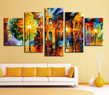Buy 5 p wall decor modern art set Beautiful city street scenery palette knife hand painted Oil carving knife Painting Canvas dd for $14.93 in AliExpress store