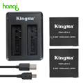 KingMa for Xiaomi Yi 4K Battery 2PCS 1400mAh Battery and Dual USB Charger For XiaoYi 4K