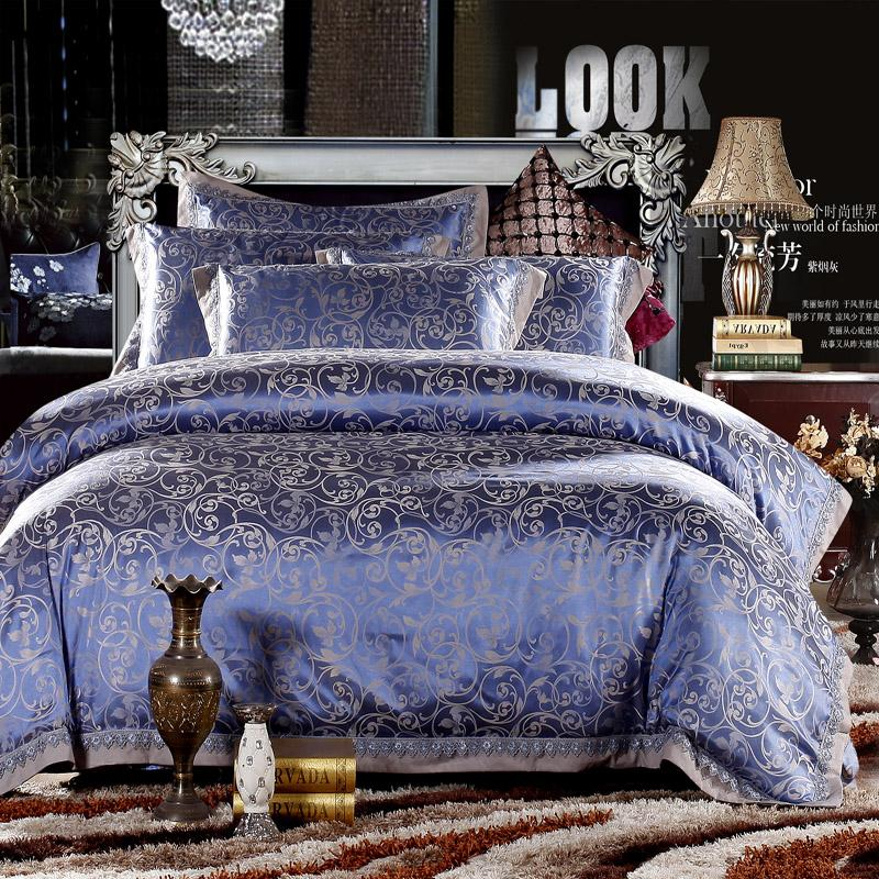 Gold pink Blue Jacquard bedding set Luxury 4pcs Satin