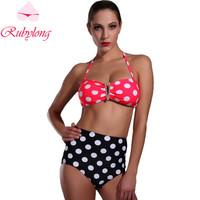 Rubylong 2016 Hot High Waist Bikini Swimwear Women Sexy Halter Push Up White Dot Swimsuit Bikini Set Beachwear Bathing Suit
