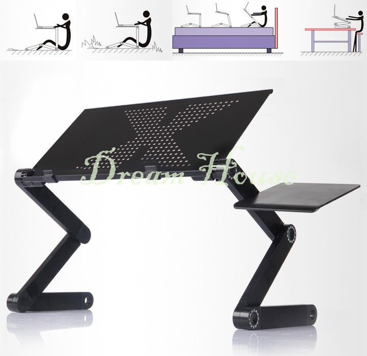 Promotion 360 Adjustable Portable Foldable Laptop Bed table Notebook PC Desk Table Vented Stand Tray Free Shipping 22(China (Mainland))