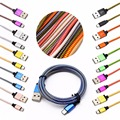 Multi color Micro Usb Cable Braided Nylon Line and Metal Plug Data Sync Charger Cable for