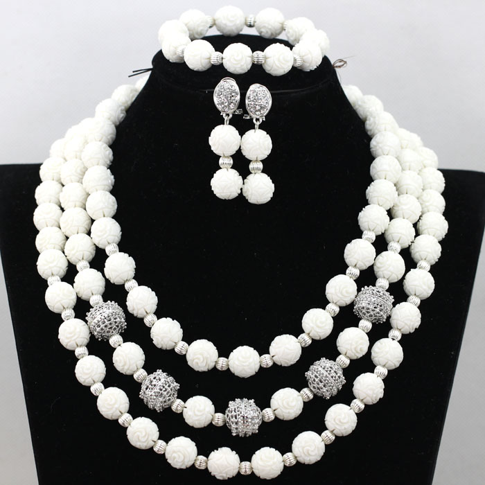 Cream White Artificial Coral Beaded African Wedding Jewelry Set Rhinestone Zircon Quality Beads Necklace Free Shipping CNR467<br><br>Aliexpress