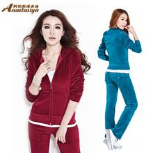 Big yards S-4XL velvet track suit, leisure suit female sport suit women Hot sales New 2014 Sweatshirt Hoodies Pullovers Coat