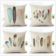 Buy Feather Style 45*45cm Square Home Decorative Pillow Music Note Printed Throw Pillows Car Home Decor Cushion Cojines for $3.64 in AliExpress store