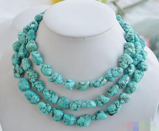 song voge gem nanJ2227 blue baroque original Turquoise stone NECKLACE(China (Mainland))