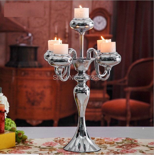 Factory direct sale Silver centerpiece candelabra  46cm wedding 5-arms candle holder candle stick candelabrum