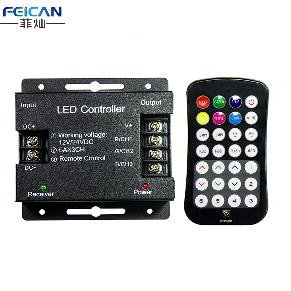 RF 28Keys Remote Controller DC12-24V 6A/CH 3Channel RGB Iron Shell LED Controller 14 Mode LED Dimmer For SMD RGB LED Strip Light(China (Mainland))