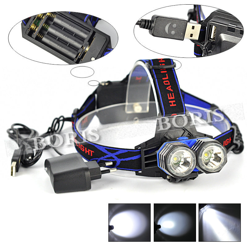 New High Power 4000Lm 20W 2* XM-L T6 4-Modes Bicycle Led Headlamp 2T6 LED Headlight head flash light Lamp+ Charger Adapter(China (Mainland))