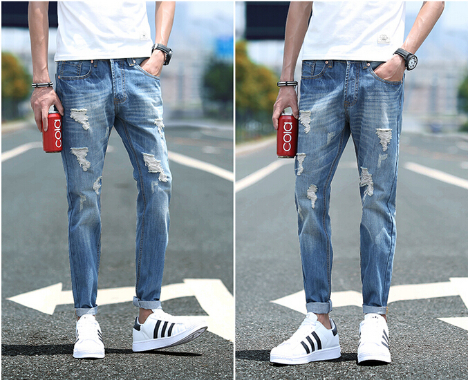 Ripped Slim Fit Jeans Mens
