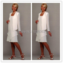 2014 New Style Summer Women Dress White Long Sleeve Mother Of The Bride Dresses Chiffon Mother