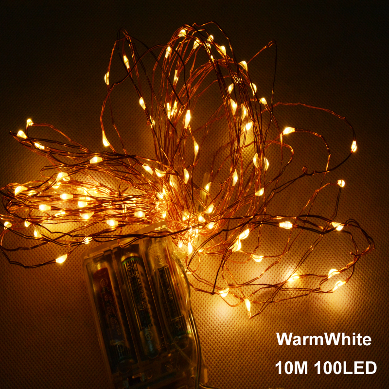 Outdoor Holiday String Lights : 10M 33ft 100 led 3AA battery powered outdoor led copper wire string lights for christmas ...