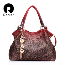 Realer brand women bag hollow out ombre handbag floral print shoudler bags ladies pu leather tote bag red/gray/blue(China (Mainland))