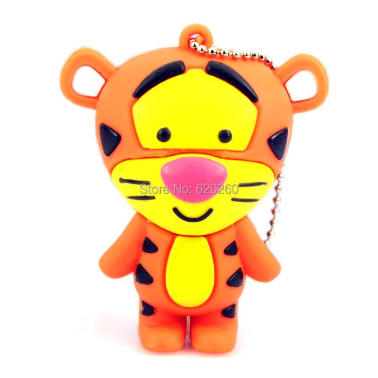 Tiger cartoon u disk, Free shipping 2G/4G/8G/16G/32G tiger USB 2.0 usb flash drive memory Silicone Rubber Cute Tiger USB Flash(China (Mainland))