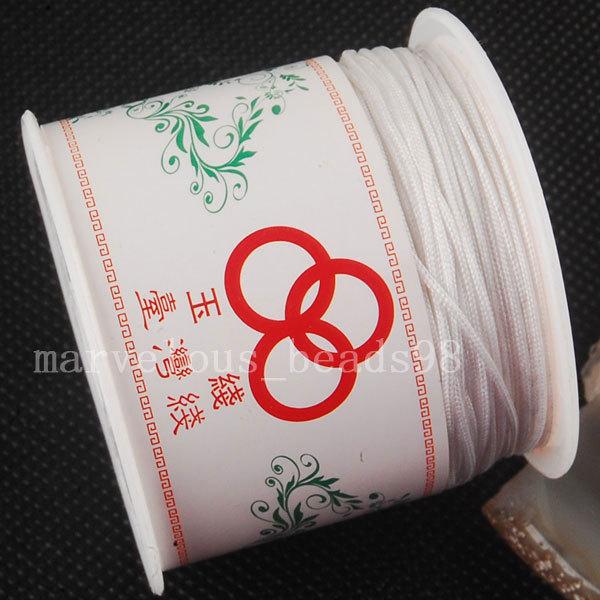 Free Shipping Beautiful jewelry 1MM Nylon White Gold Beading Cord Rope 60M 1Pcs MC3082(China (Mainland))