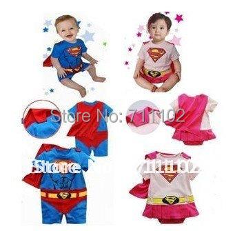 Baby romper clothing cotton boy girl Halloween kids superman supergirl with cloak show wholesaler batman christmas Santa Claus(China (Mainland))