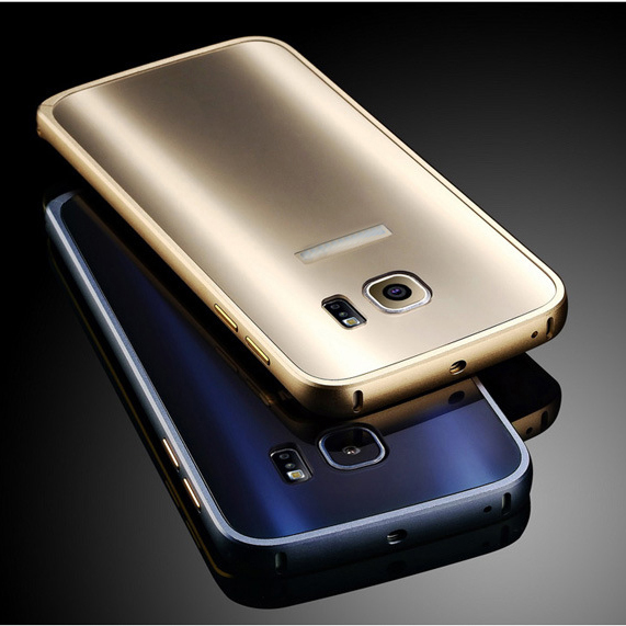 Luxury Design Plating Aluminun Bumper Case Frame + Back Cover For Samsung Galaxy S7 Edge for Samsung S7Edge(China (Mainland))