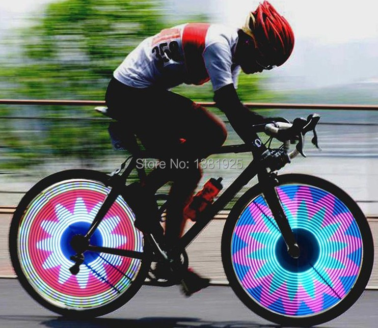 Free Shipping Noctilucent Colorful 32 Images To Choose Bicycle Wheels Lamp Lights Wheel Lamp Bicycle Accessories(China (Mainland))