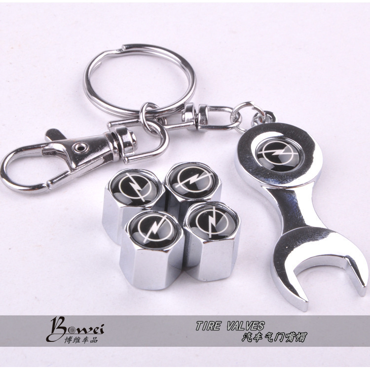 Free shipping Car Wheel Tire Valve Caps with Mini Wrench & Keychain for Opel (4-Piece/Pack)(China (Mainland))