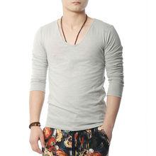 Top Tees Long Sleeve T-Shirt Men Slim V Neck T Shirt Men Fashion Tshirt Boys(China (Mainland))