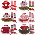 2016 Christmas Baby girl clothes Newborn baby Romper Tutu dress headband shoes leg warmers 4pcs sets