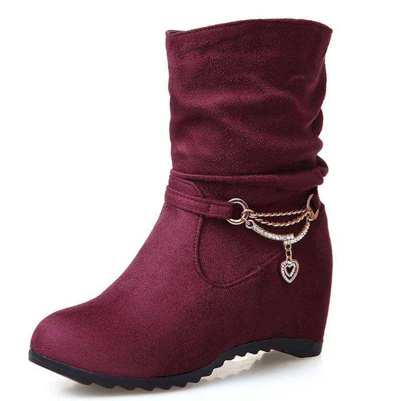 High Quality Ankle Boots Round Toe Fashion Shoes Low High Heels Boots Black Chain Women Boots Winter Platform Shoes<br><br>Aliexpress