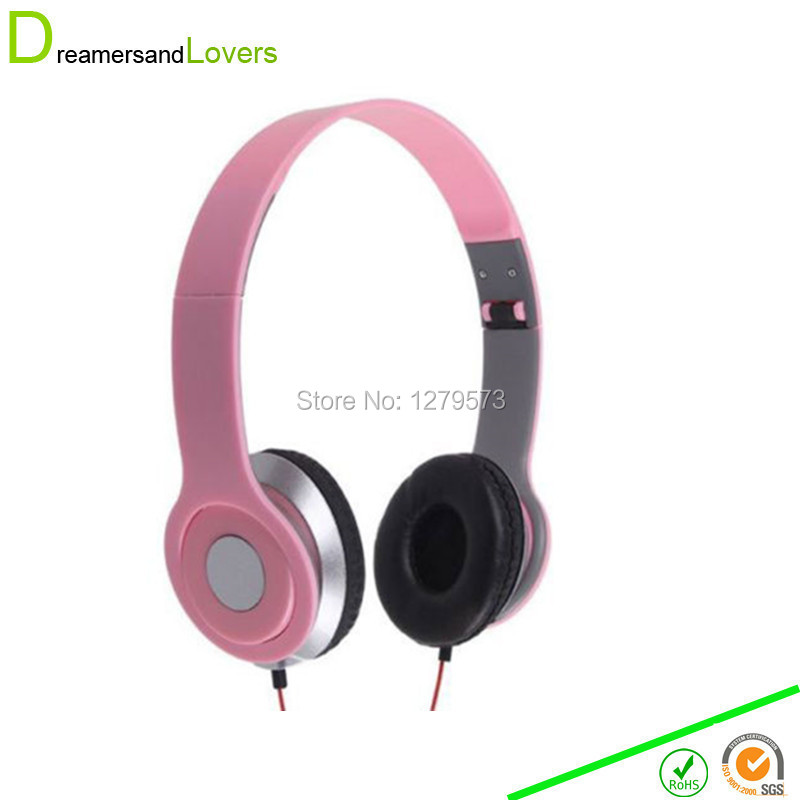 Stereo Folding Headphones, Headband Headset Kids Earphones or Adults Lightweight Headsets for Iphone/tablet/android/mp3/mp4 Pink(China (Mainland))