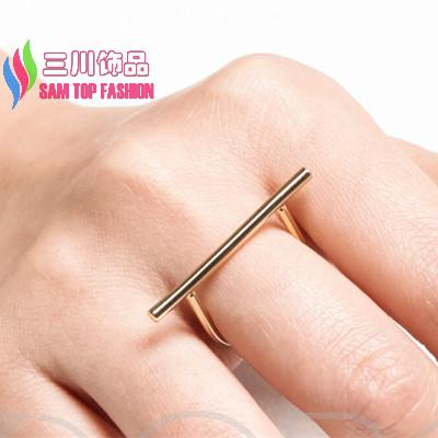 girls rings fashion gold/ silver/ black plated simple copper stick top finger ring for women anillos para las mujeres(China (Mainland))