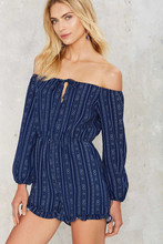 Buy 2016 Summer Fashion Striped Rompers Womens Jumpsuit Elegant Shorts Long Sleeve Sexy Slash Neck Shoulder Playsuit KP#404 for $13.99 in AliExpress store