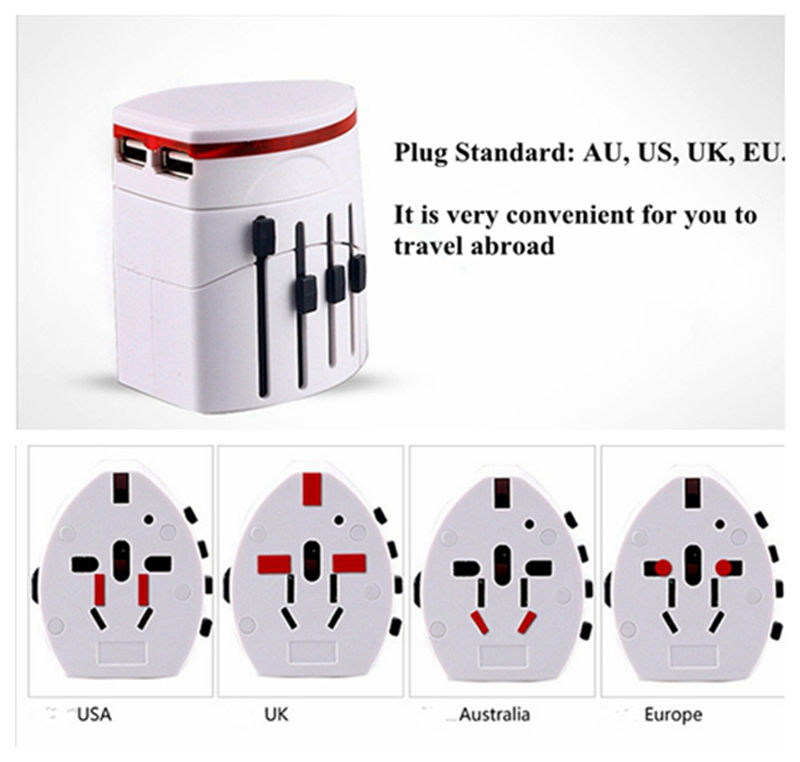 All in 1 Universal Convinien International Plug Adapter 2 USB Port World Travel AC Power Charger Adaptor with AU US UK EU Plugs(China (Mainland))