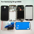 Black Original Full Housing cover for S4 i9505 faceplate mid frame battery back case outer glass