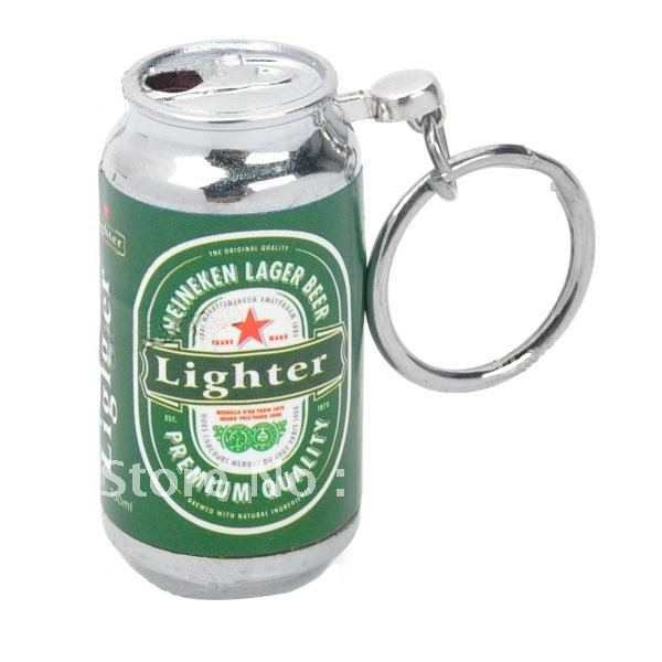 Novelty Mini Beer Can Style Butane Gas Lighter - Green(China (Mainland))