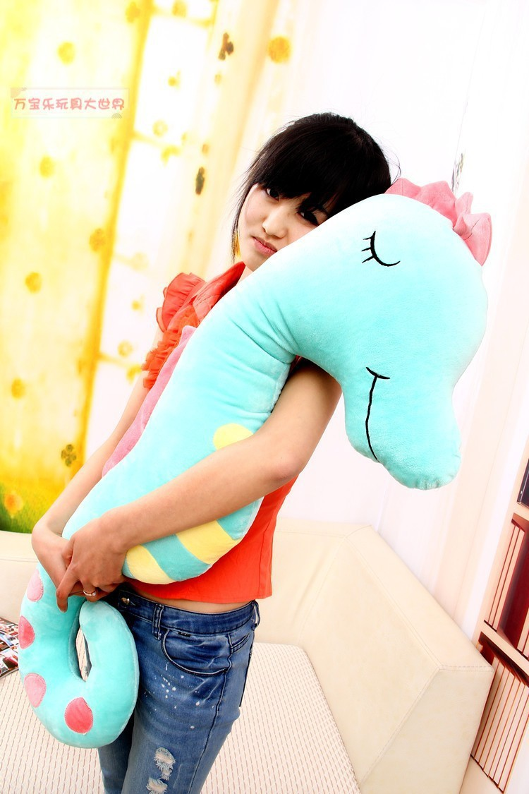 big size plush blue sea horse toy stuffed sea horse boyfriend pillow toy gift about 140cm a1029(China (Mainland))