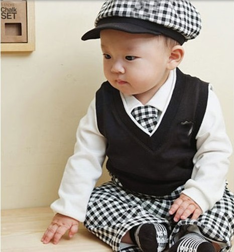 Retail free shipping 2013 sale new baby boys 5pcs autumn set white long sleeve blouse+ plaid pants+hat+tie+vest clothing for t