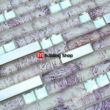 mosaic tile ssmt161 purple glass tiles stainless steel tile backsplash