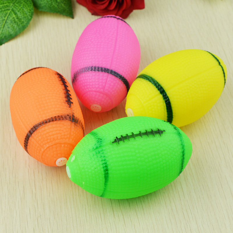 Puppy Pet Dog Cat Squeaky Squeaker Sound Rubber Play Chew Toy Rugby Ball(China (Mainland))