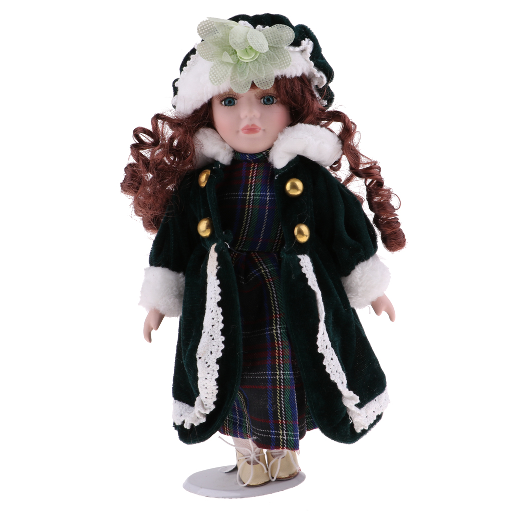 30cm Vintage Girl Doll Lady in Long Plaid Dress Gown Hat Dolls House Miniature Accessory