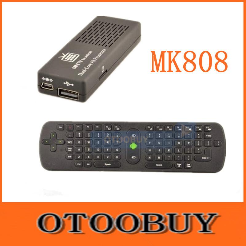 MK808 Android 4.2 Mini WIFI HDMI Media Player TV Box Stick with Dual Core Cortex A9 1.6GHz RAM 1GB 8GB Flash + RC12 Keyboard(China (Mainland))