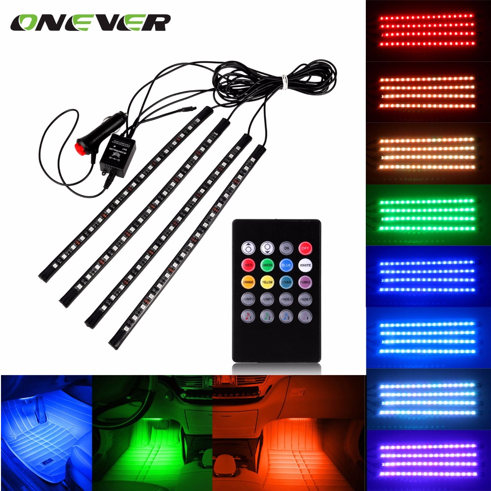 Car RGB LED Strip Light Music Control LED Strip lights 8 Colors Car Styling Atmosphere Lamps Car Interior Light With Remote(China (Mainland))