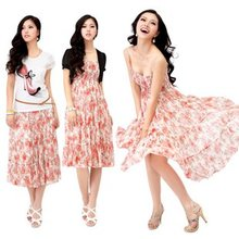 Spring clothing 2012 new three piece sling suihua chiffon dress themselves in the Bohemian girl(China (Mainland))