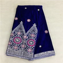 5yds/pc African Velvet fabric embroidered Sequins! velvet lace 16L - Guangzhou tesco lace/shoes/wax shop store