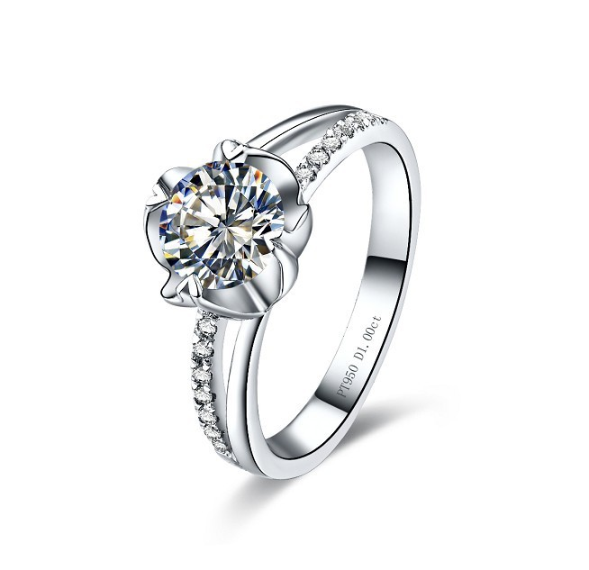 Fantastic Flower Shape 2CT NSCD Synthetic Diamond Engagement Ring WriteYour L