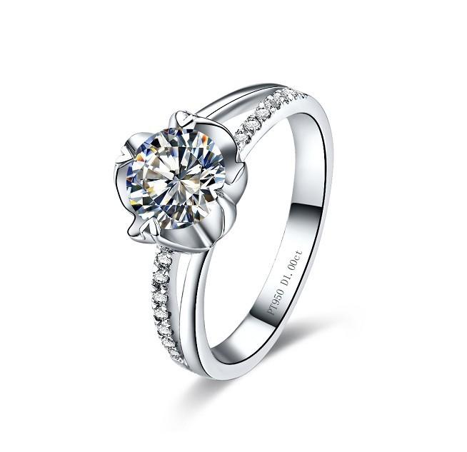 fantastic flower shape 2ct nscd synthetic diamond engagement ring - Flower Wedding Rings