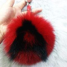 Alfabeto genuína pele de raposa bola chaveiro bolsa pingente carta bola de jóias acessórios de moda chaveiro(China)