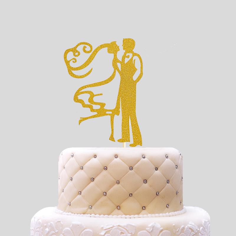 2018 Creative Gold Baking Supplies Bride Groom Cake Dolls Wedding ...